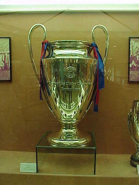 La Coppa della UEFA Champions League esposta a Firenze nel Salone dei Cinquecento a Palazzo Vecchio
