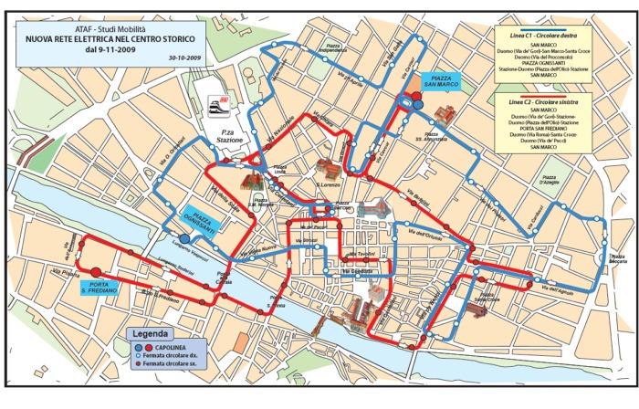Firenze Cartina Centro Storico.Met Ataf La Mappa Dei Bussini Elettrici