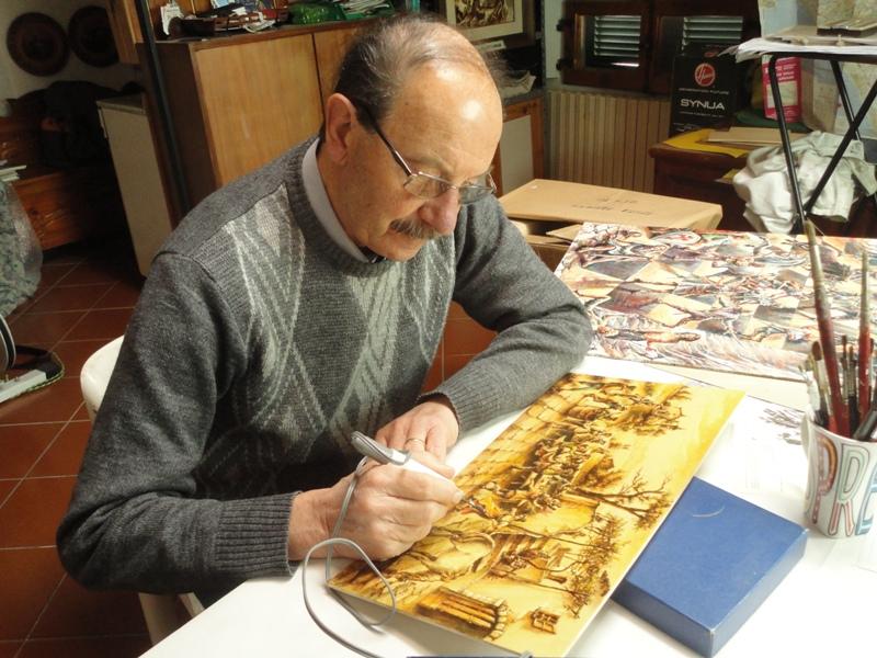 Sergio Rinaldi nel suo studio