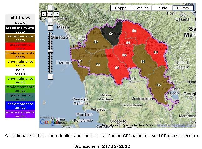 Mappa delle piogge cumulate nel bacino dell'Arno negli ultimi 6 mesi