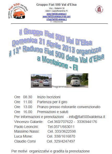Volantino del raduno del Gruppo Fiat 500 Val d'Elsa a Montaione
