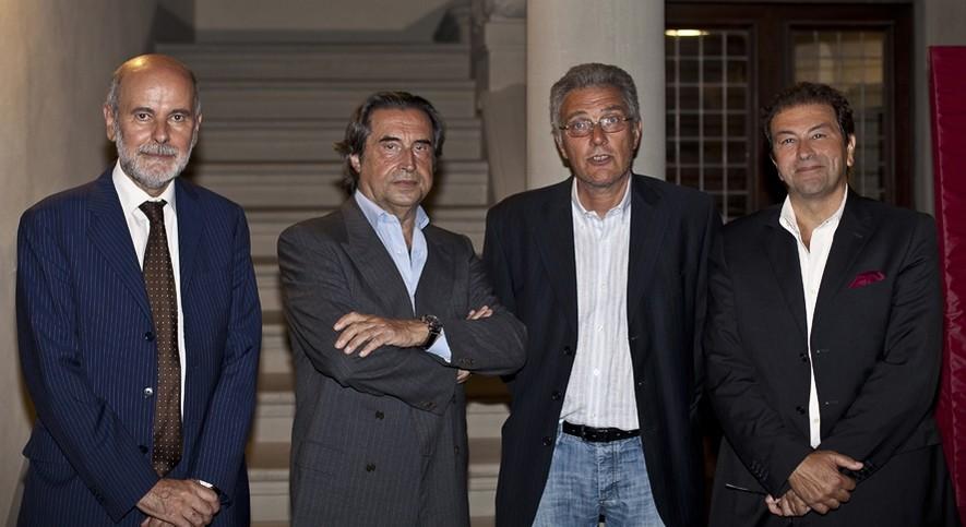 Il Direttore del Museo Claudio Rosati, il Maestro Riccardo Muti, il Sindaco Carlo Nannetti e l'Assessore Marco Capaccioli