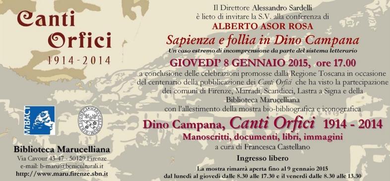 Invito alla conferenza 'Sapienza e follia in Dino Campana'