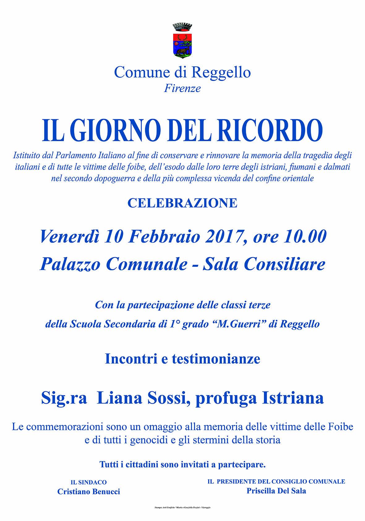 Il 10 febbraio il comune di Reggello celebra Il Giorno del Ricordo