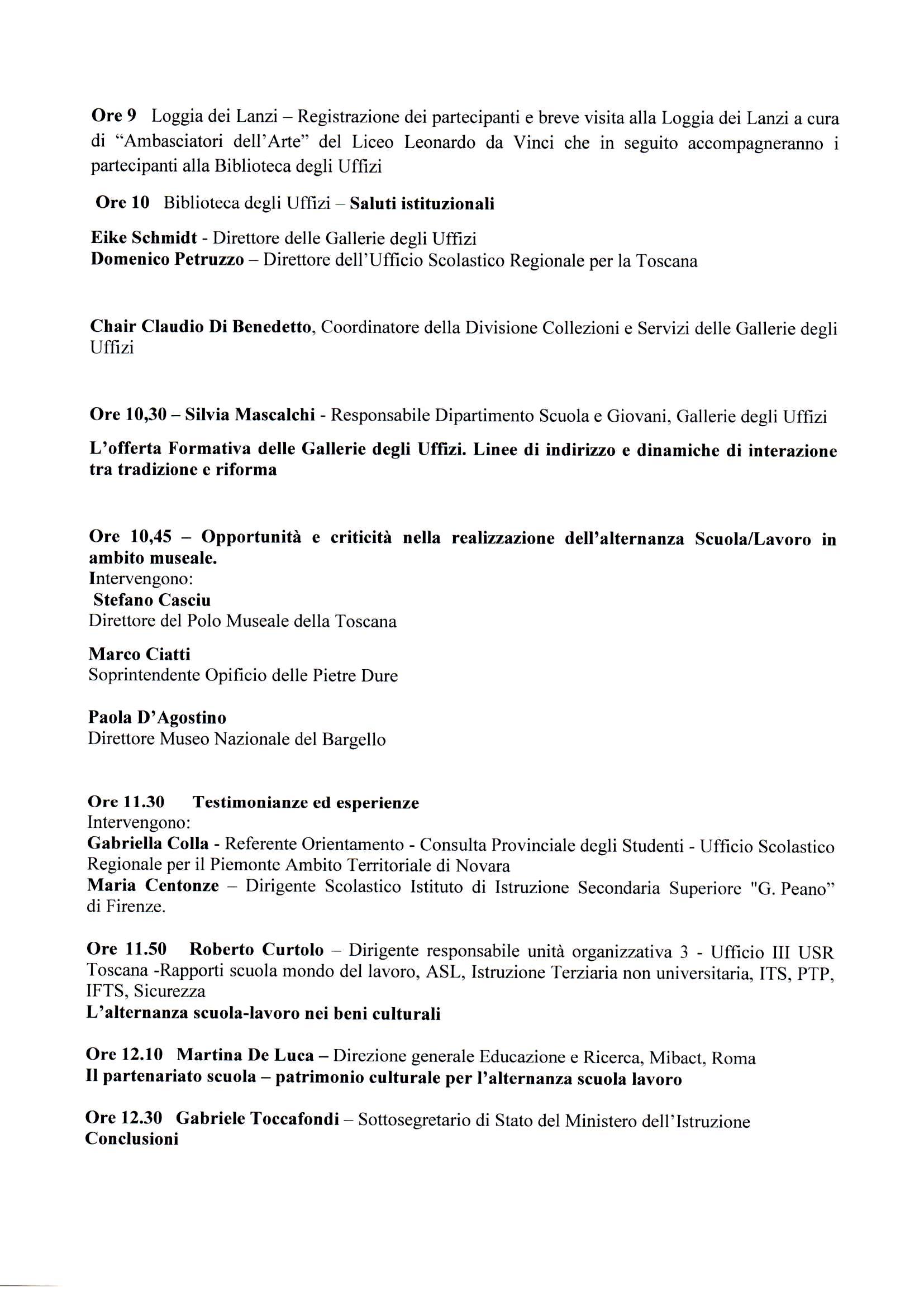 Programma del 24 novembre
