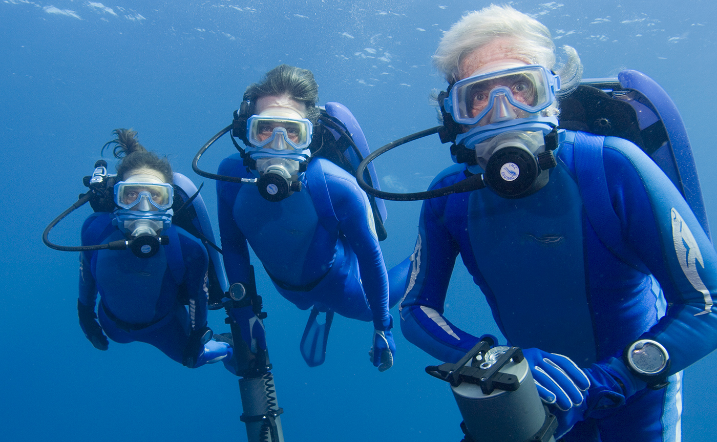 Jean-Michel Cousteau con i figli Fabien e Celine
