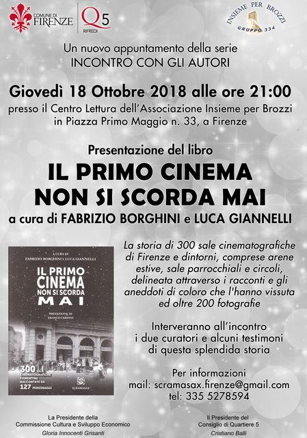 Locandina presentazione 'Il primo cinema non si scorda mai' a Brozzi