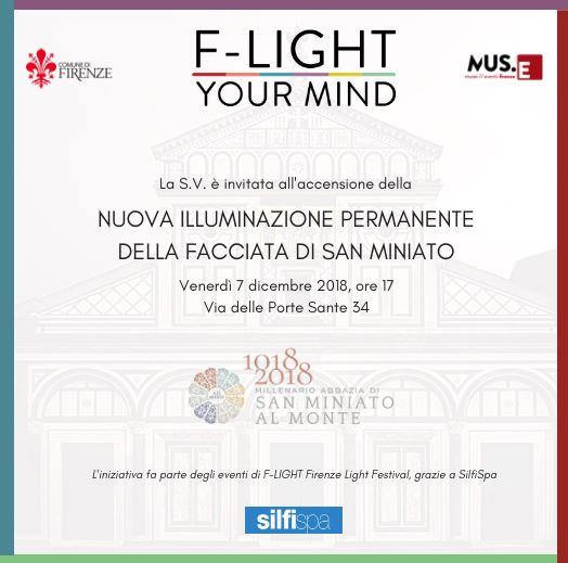 L'invit alla inaugurazione della nuova illuminazione della facciata della Basilica di San Miniato al Monte