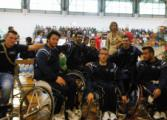 Atleti della Nazionale italiana under 23 di basket in carrozzina con l'assessore Di Giorgi