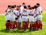 Biancorossi in cerchio prima della partita. Foto: Marco Metti