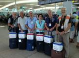 I volontari del Nucleo Operativo di Protezione Civile – logistica dei trapianti all'aeroporto