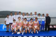 Il podio del quattro con (accosciati da sx. D'Onza, Calabrese, Scalini, Susini e Gattai)