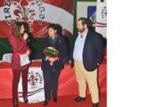 Il vicesindaco Stefania Saccardi accolta dal presidente di Aeroporto Firenze Rugby Giacomo Lucibello