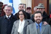 AVIS - Claudia Burlotti tra il presidente regionale Avis Luciano Franchi (a sinistra) e il sindaco Andrea Campinoti