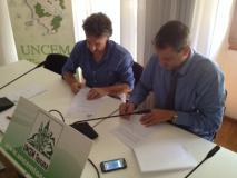 Oreste Giurlani (a destra9 e il presidente del Comitato Italiano Paralimpico regionale toscano Massimo Porciani