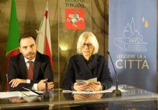 Il sindaco di Pistoia Samuele Bertinelli e la vicepresidente e assessore alla cultura della Regione Toscana  Monica Barni