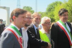 Inugurazione del by pass del Galluzzo, da sinistra Nardella, Lotti, Del Rio,  a destra il sindaco Calamandrei