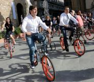 I sindaci Nardella e Sala alla presentazione del bike sharing a flusso libero a Firenze