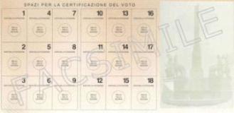 Tessera elettorale (Fonte foto comune di Rignano)