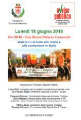 Locandina incontro 'Venti anni di lotta alle mafie e alla corruzione in Italia'