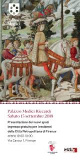 L'invito per l'inaugurazione dei nuovi spazi di Palazzo Medici Riccardi sabato 15 settembre 2018