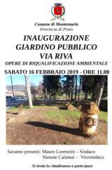 L'invito all'inaugurazione dei giardini di via Riva (foto da comunicato)