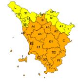 La situazione meteo prevista codice arancione per vento (immagine da comunicato RT)