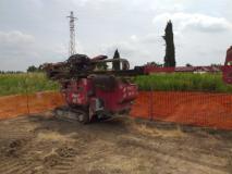 Macchina perforatrice e micropali per lavori al Ponte di Marcignana