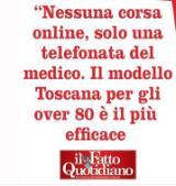 Titolo del Fatto Quotidiano sulle vaccinazioni degli over 80 in Toscana